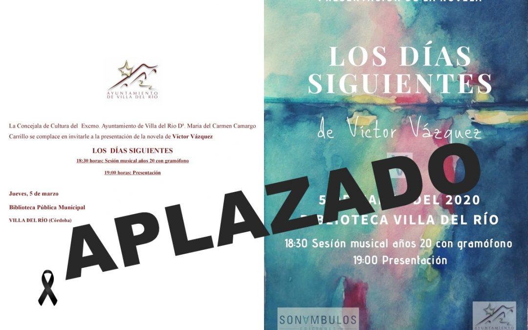 Aplazada la presentación de la nueva novela de Víctor Vázquez  1