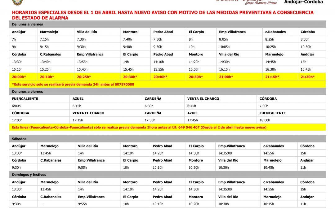 Modificación del servicio de autobús Andujar - Córdoba 1