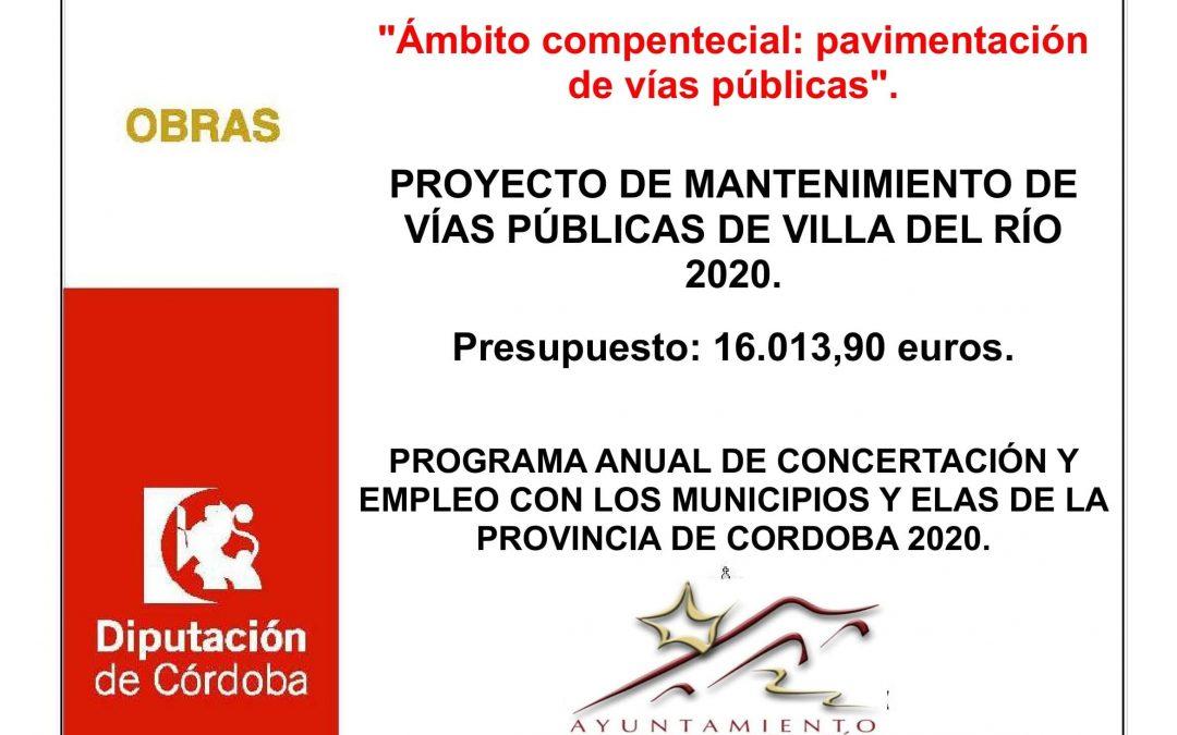 PROYECTO DE MANTENIMIENTO DE VÍAS PÚBLICAS DE VILLA DEL RÍO 2020. 1
