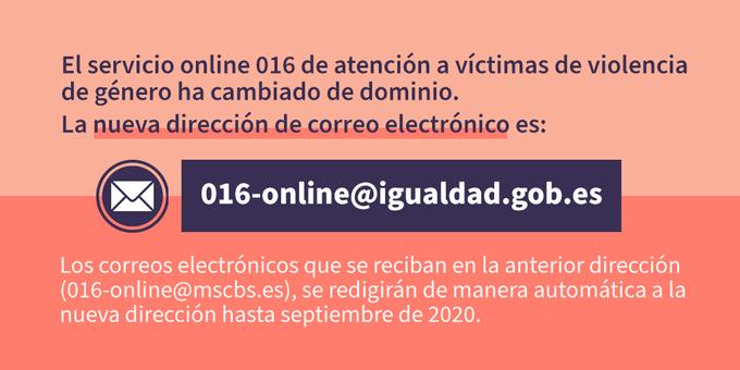 El correo electrónico del servicio 016 online para víctimas de violencia de género ha cambiado 1