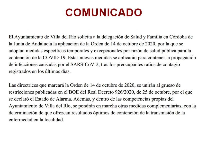 El Ayuntamiento de Villa del Río solicita a la Junta de Andalucía la aplicación de la orden de 14 de Octubre de 2020 para frenar la transmisión de la Covid-19 1
