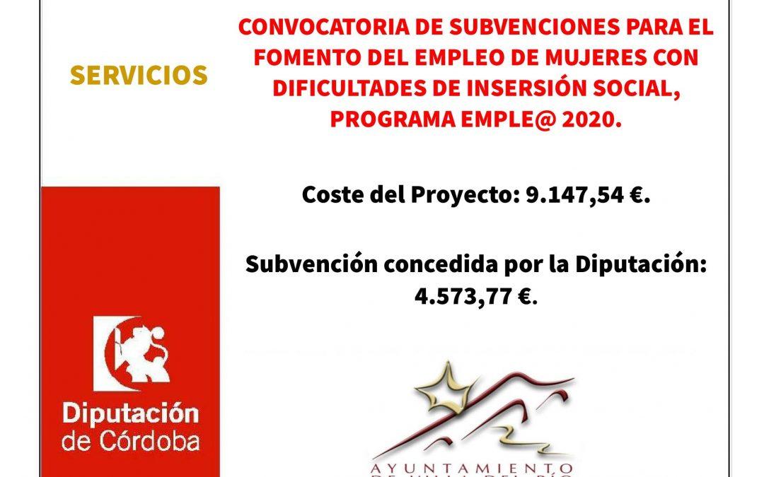 CONVOCATORIA DE SUBVENCIONES PARA EL FOMENTO DEL EMPLEO DE MUJERES CON DIFICULTADES DE INSERSIÓN SOCIAL, PROGRAMA EMPLE@ 2020. 1