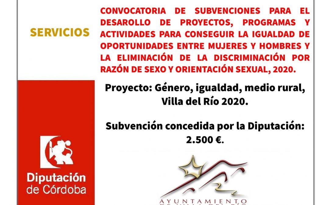 CONVOCATORIA DE SUBVENCIONES PARA EL DESAROLLO DE PROYECTOS, PROGRAMAS Y ACTIVIDADES PARA CONSEGUIR LA IGUALDAD DE OPORTUNIDADES ENTRE MUJERES Y HOMBRES Y LA ELIMINACIÓN DE LA DISCRIMINACIÓN POR RAZÓN DE SEXO Y ORIENTACIÓN SEXUAL, 2020. 1