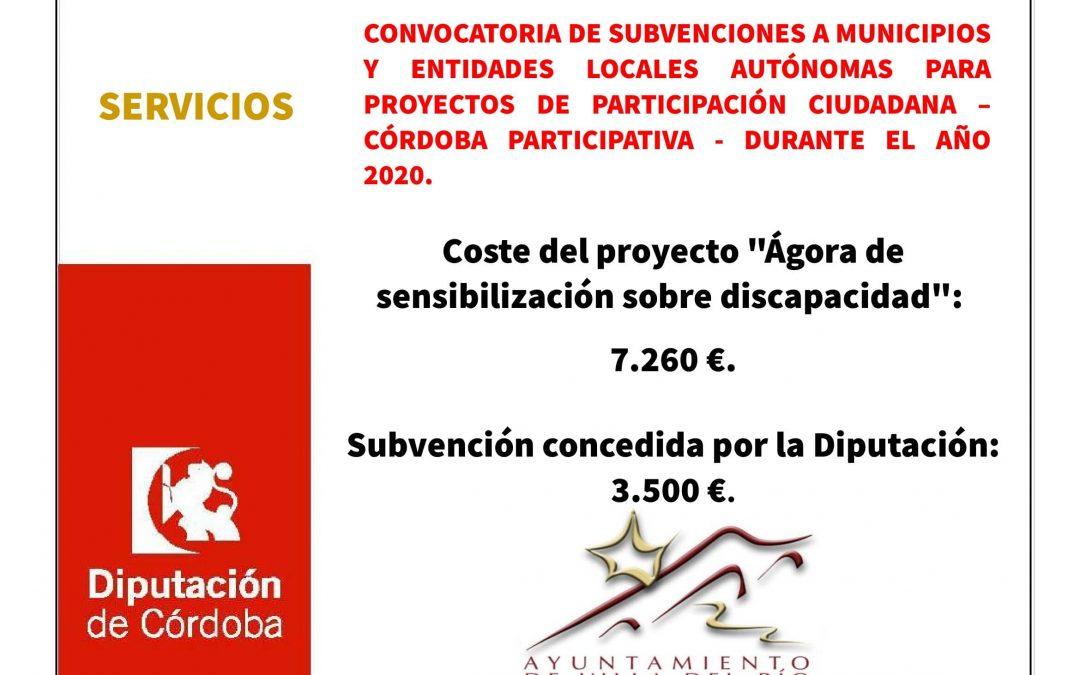 CONVOCATORIA DE SUBVENCIONES A MUNICIPIOS Y ENTIDADES LOCALES AUTÓNOMAS PARA PROYECTOS DE PARTICIPACIÓN CIUDADANA – CÓRDOBA PARTICIPATIVA - DURANTE EL AÑO 2020. 1