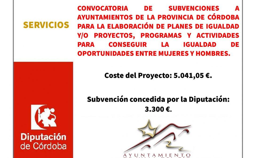 CONVOCATORIA DE SUBVENCIONES A AYUNTAMIENTOS DE LA PROVINCIA DE CÓRDOBA PARA LA ELABORACIÓN DE PLANES DE IGUALDAD Y/O PROYECTOS, PROGRAMAS Y ACTIVIDADES PARA CONSEGUIR LA IGUALDAD DE OPORTUNIDADES ENTRE MUJERES Y HOMBRES. 1