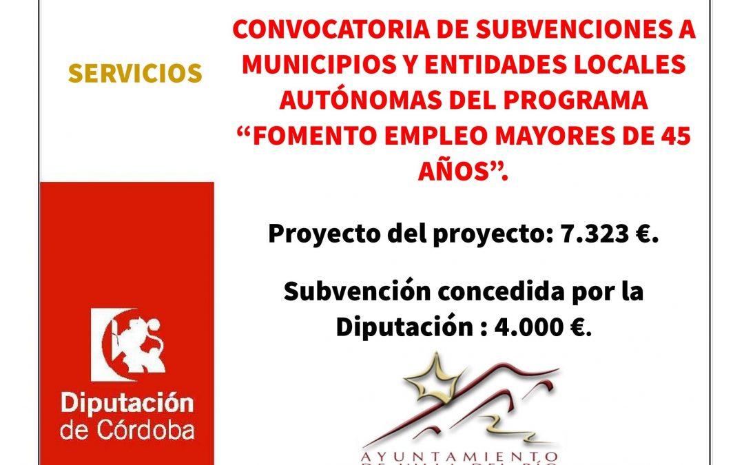 """CONVOCATORIA DE SUBVENCIONES A MUNICIPIOS Y ENTIDADES LOCALES AUTÓNOMAS DEL PROGRAMA """"FOMENTO EMPLEO MAYORES DE 45 AÑOS"""". 1"""