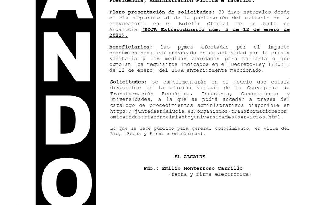 Bando | Convocatoria de subvenciones actividad económico del comercio minorista, hostelería y agencias de viajes 1