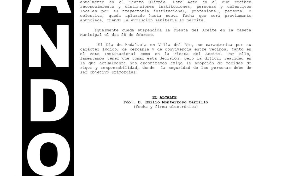 Bando   Suspensión de los actos del Día de Andalucía 1