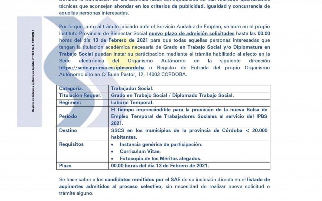 Diputación de Córdoba   Ofertas de empleo temporal: Trabajadores Sociales 1