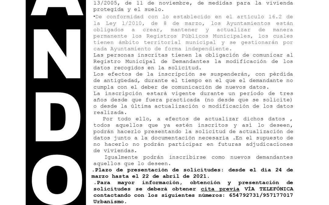 Bando | Actualización de datos del Registro Municipal de Demandantes de Viviendas Protegidas 1