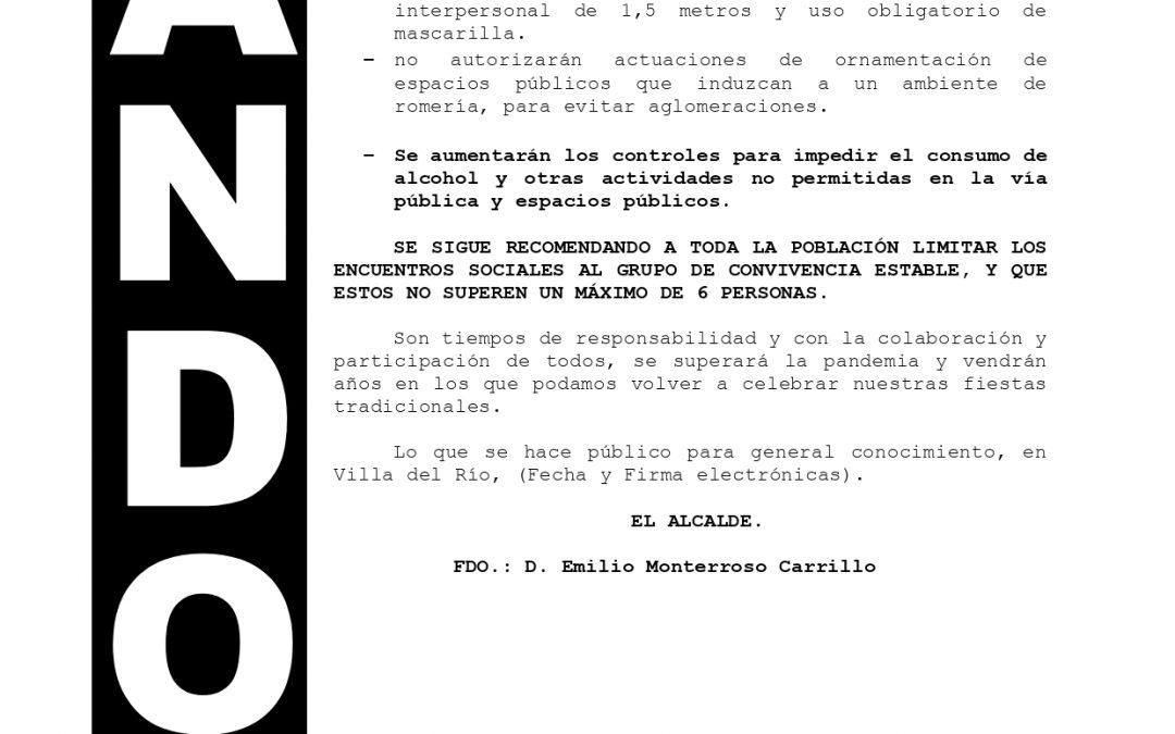 Bando | Suspensión de actividades romería de San Isidro 1