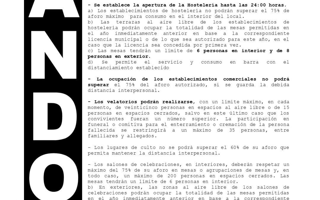 Bando | Medidas de alerta anticovid en Villa del Río tras finalización del Estado de Alarma 1