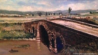 Puente romano. D. Francisco Pérez Daza. Óleo / Lienzo
